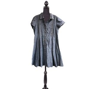 Talbots Chambray Cap Sleeve Button-Down Dress